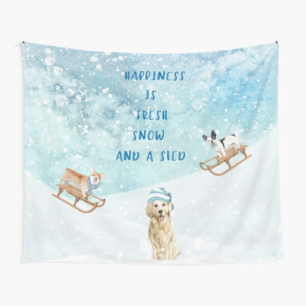 Happiness is, winter decor, winter dogs Tapestry