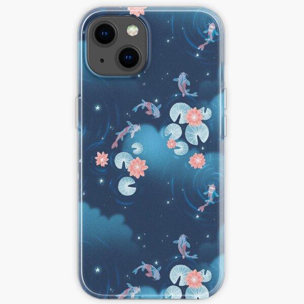Koi pond - night iPhone Soft Case