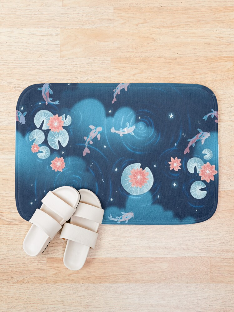 Alternate view of Koi pond - night Bath Mat