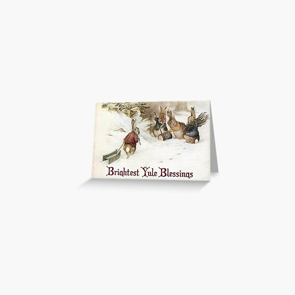 Yule Greetings Rabbits - Beatrix Potter Greeting Card