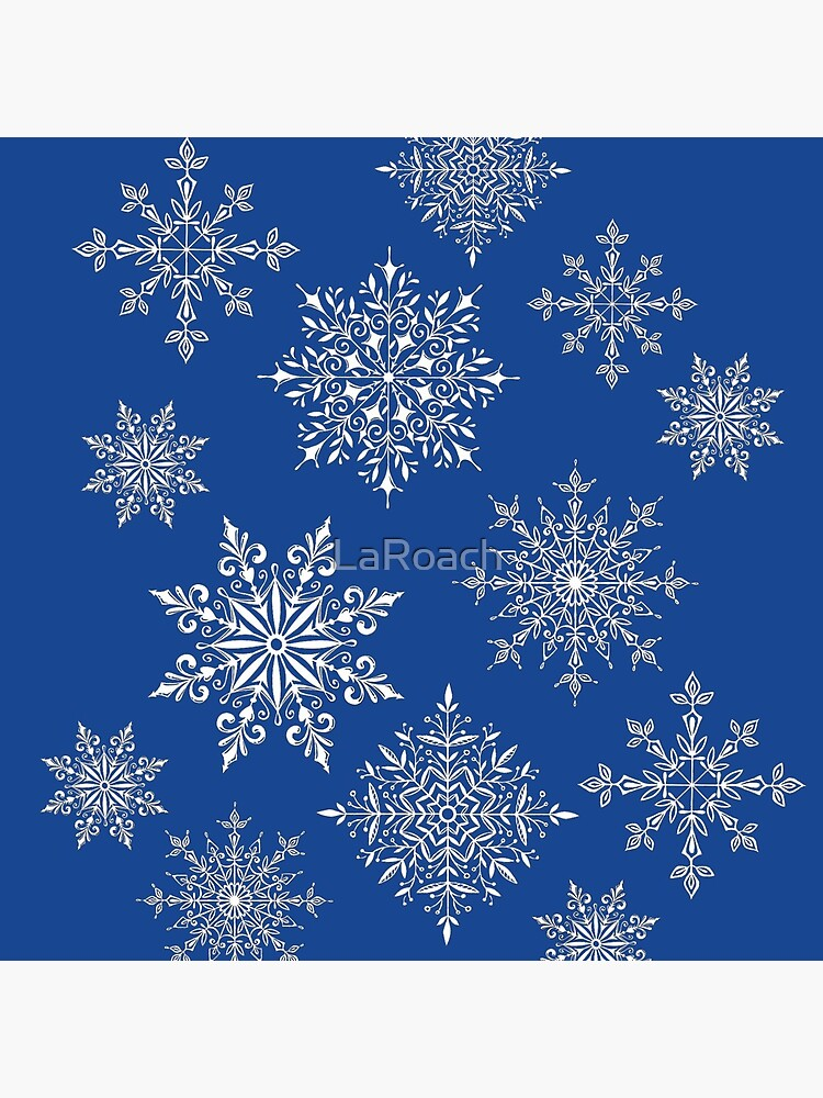Holiday Snowflake Pattern on Blue Background by LaRoach