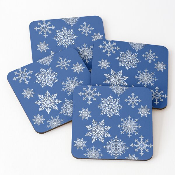 Holiday Snowflake Pattern on Blue Background Coasters (Set of 4)