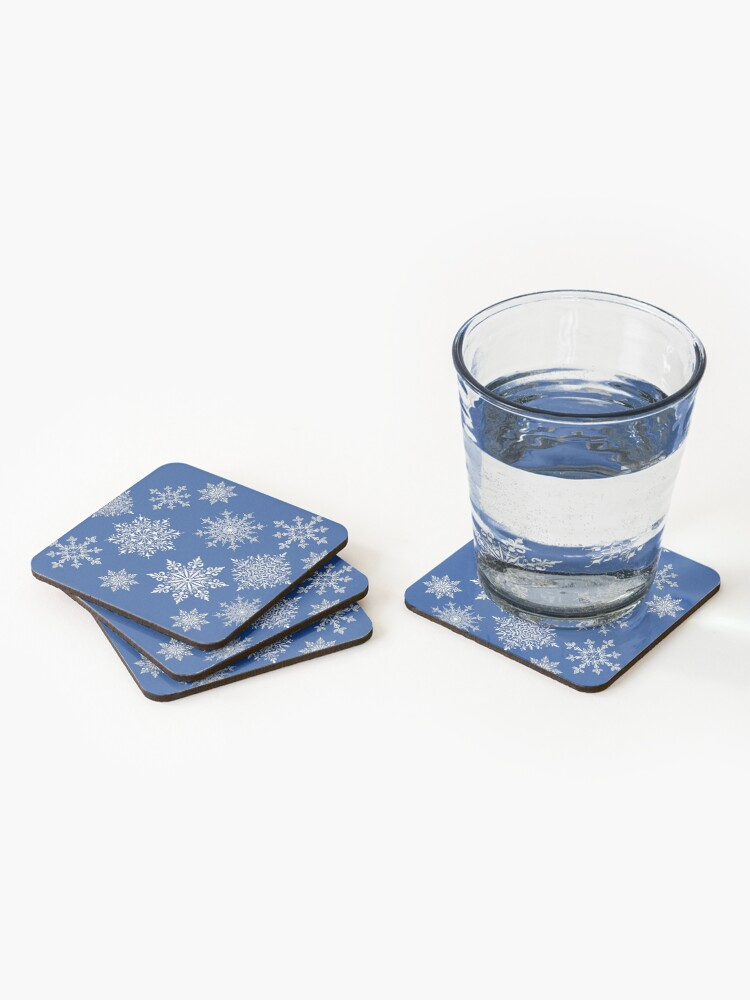 Alternate view of Holiday Snowflake Pattern on Blue Background Coasters (Set of 4)