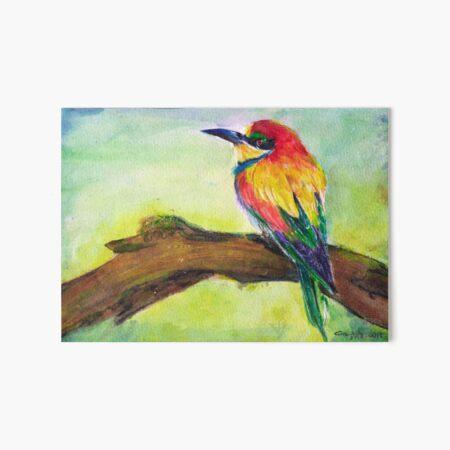 Colorful Bird on Branch Art Board Print