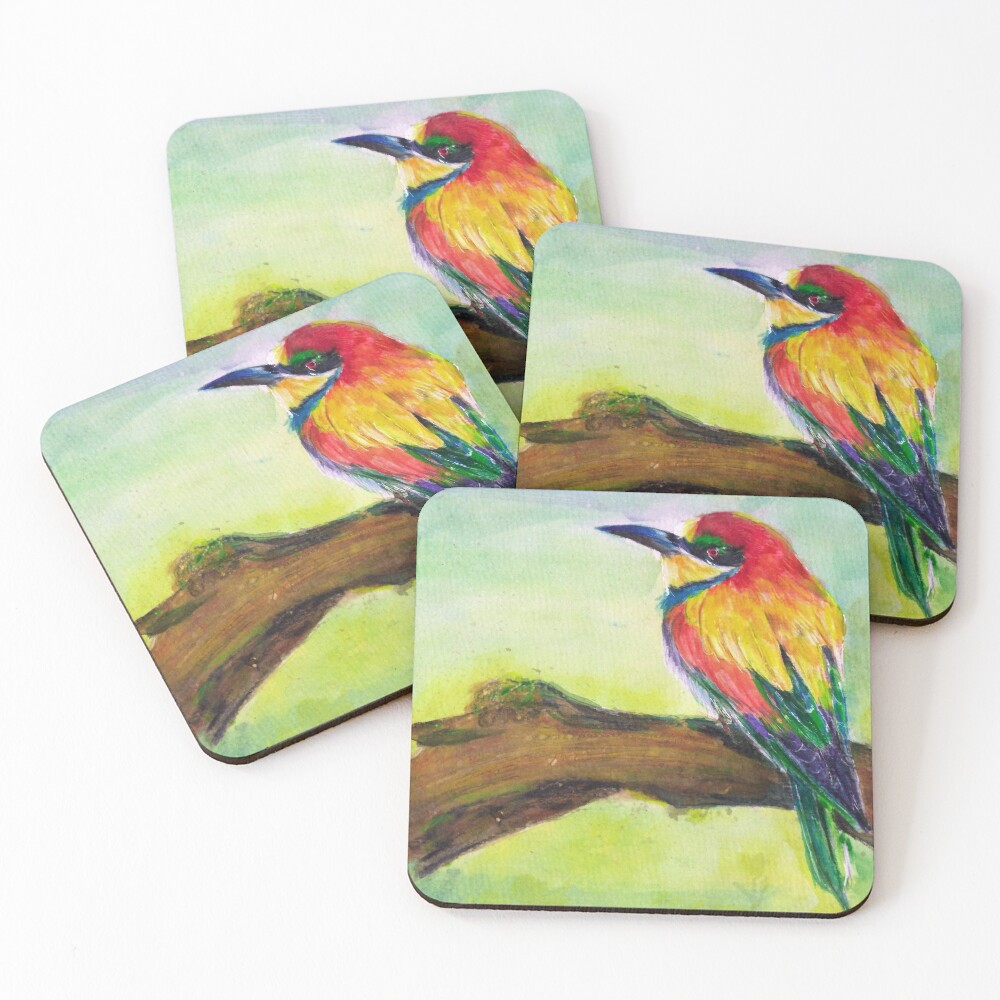 Colorful Bird on Branch Coasters (Set of 4)