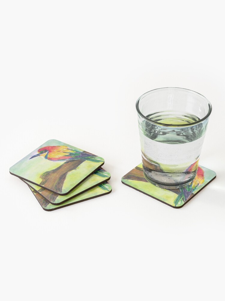 Alternate view of Colorful Bird on Branch Coasters (Set of 4)