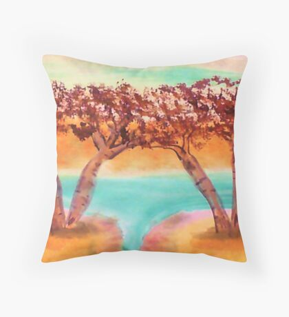 Birch trees by water in watercolor Throw Pillow