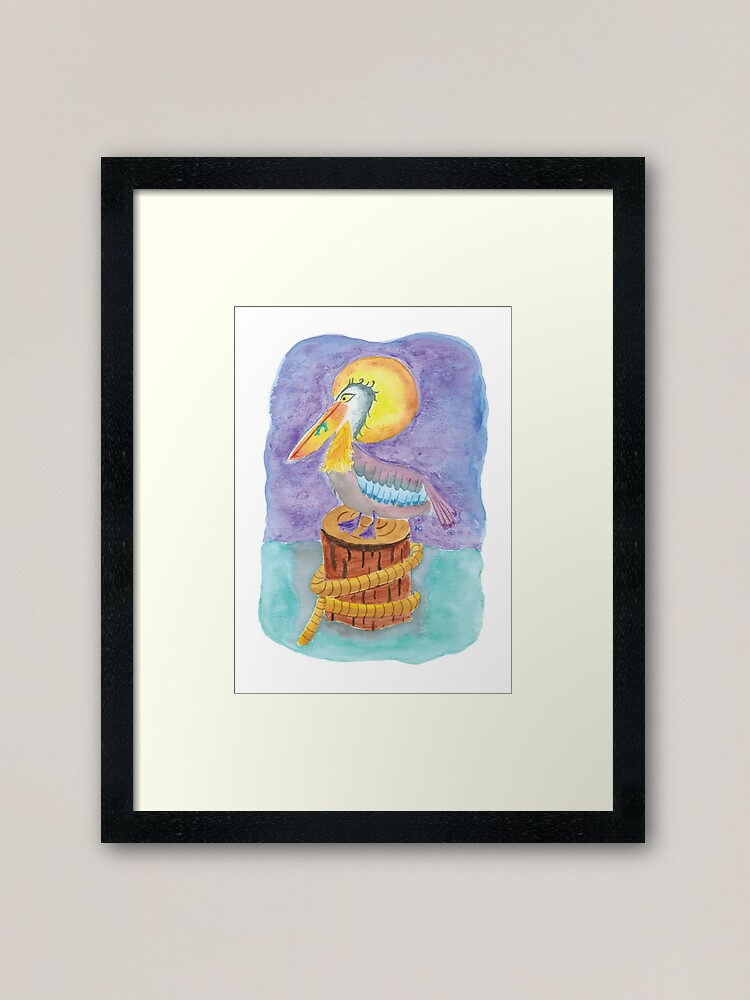 Alternate view of Watercolor pelican on a piling  Framed Art Print