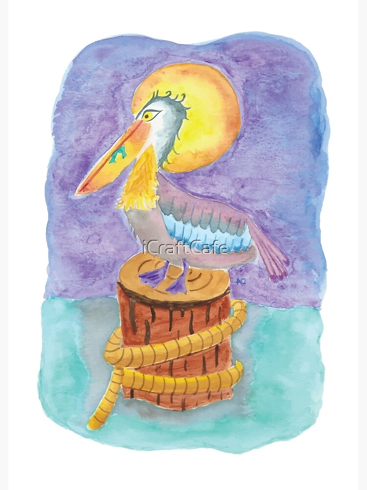 Watercolor pelican on a piling  by iCraftCafe