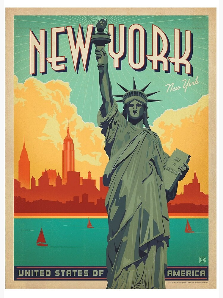 "Vintage Travel Poster - New York"" Art Board Print by aaron-1515 ..."