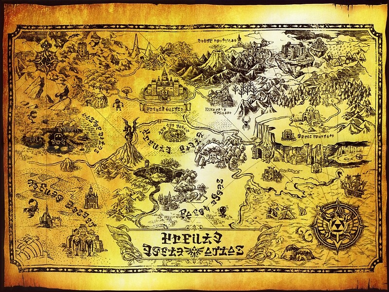 "Hyrule Map Legend of Zelda"" Canvas Prints by knollgilbert"