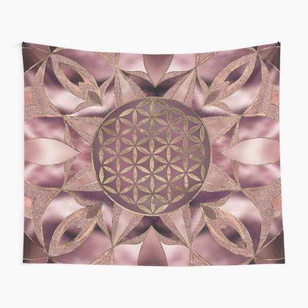 Flower of Life Rose Gold Tapestry