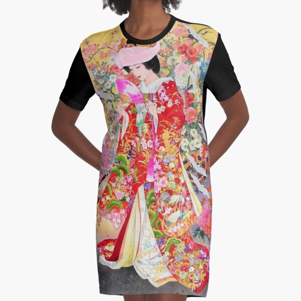 #Kimono, #flower, #geisha, #art, costume, dress, decoration, celebration, fashion, painting Graphic T-Shirt Dress