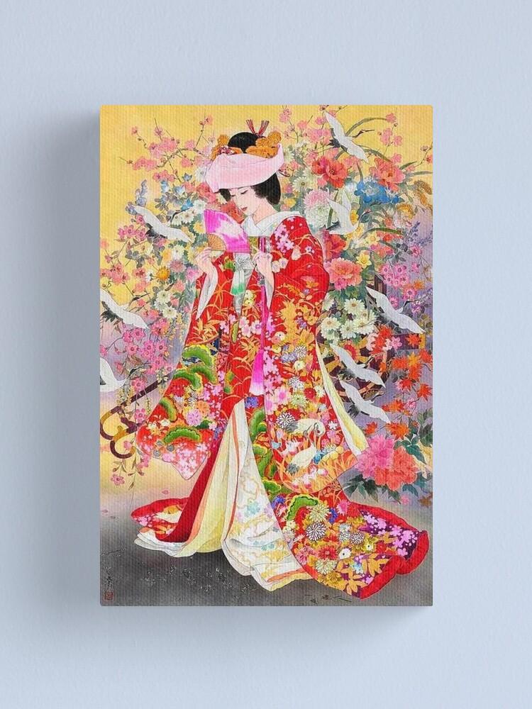 Alternate view of #Kimono, #flower, #geisha, #art, costume, dress, decoration, celebration, fashion, painting Canvas Print