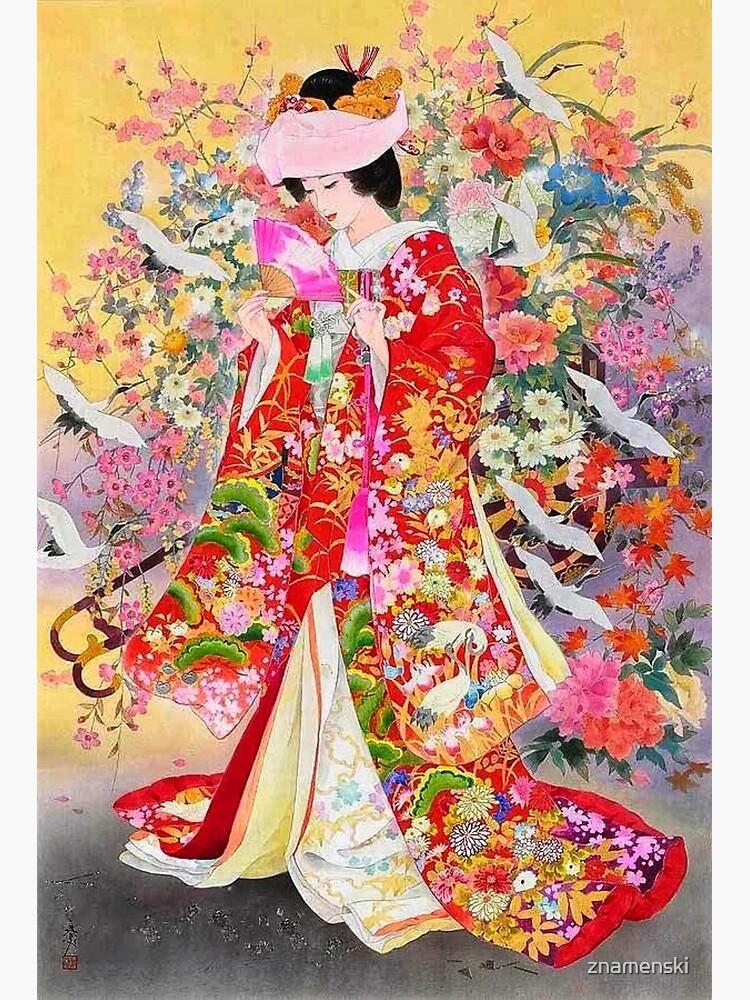 #Kimono, #flower, #geisha, #art, costume, dress, decoration, celebration, fashion, painting by znamenski