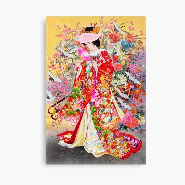 #Kimono, #flower, #geisha, #art, costume, dress, decoration, celebration, fashion, painting Canvas Print