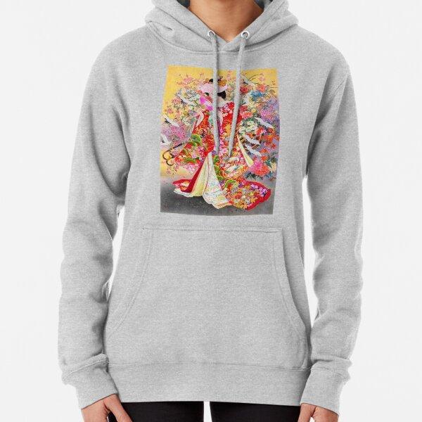 #Kimono, #flower, #geisha, #art, costume, dress, decoration, celebration, fashion, painting Pullover Hoodie