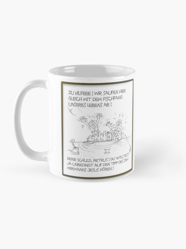 Alternative Ansicht von Petrus trifft Jesus - Cartoon-Design - Zu Hilfe ! Tasse