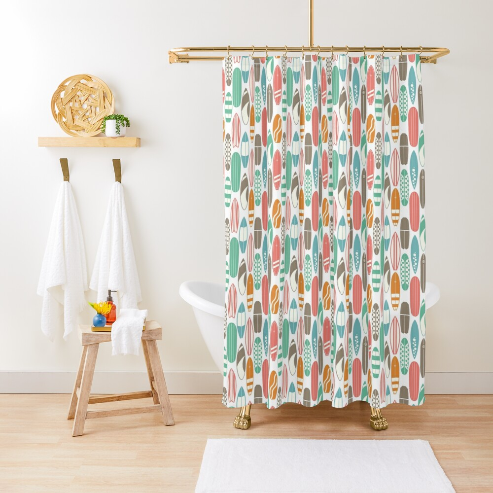Surfboard Pattern Shower Curtain