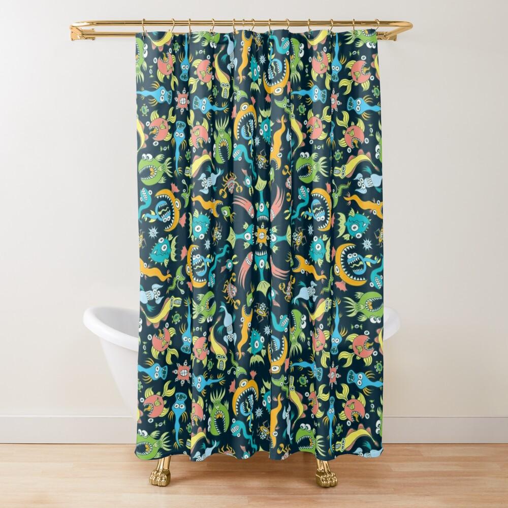 Weird sea animals devouring each other in a mandala pattern design Shower Curtain