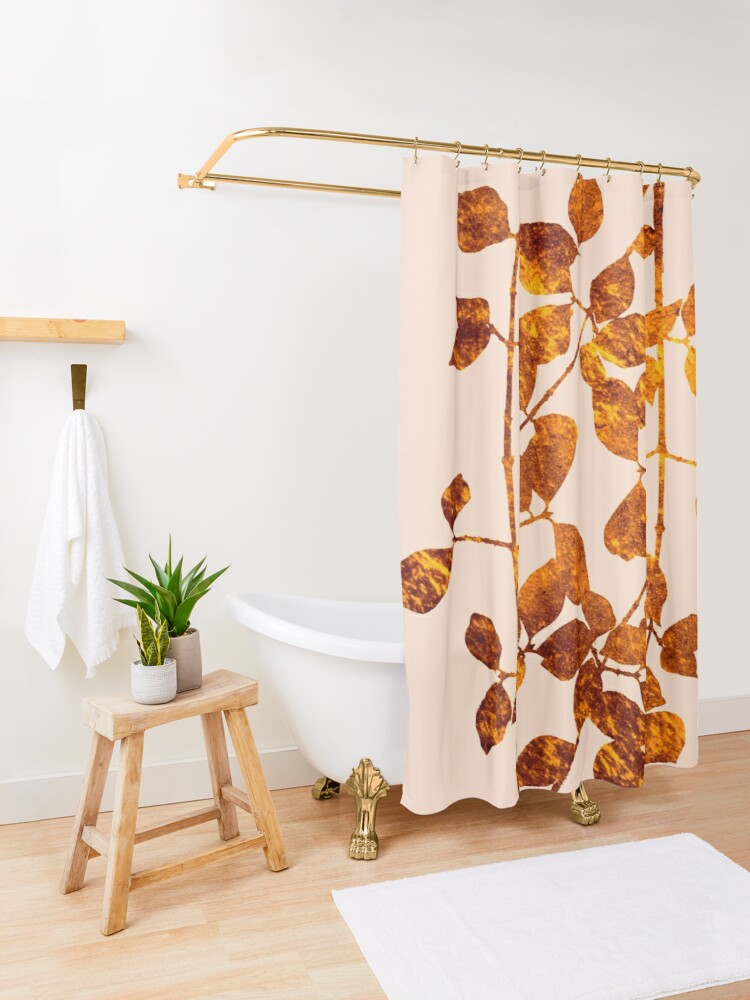 Alternate view of fall golden leaves Shower Curtain