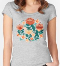 Protea Chintz - Teal & Orange  Fitted Scoop T-Shirt