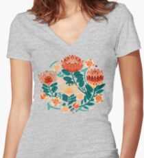 Protea Chintz - Teal & Orange  Fitted V-Neck T-Shirt