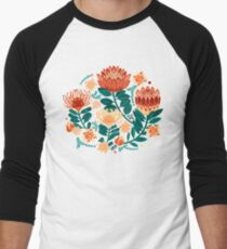 Protea Chintz - Teal & Orange  Baseball ¾ Sleeve T-Shirt