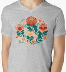 Protea Chintz - Teal & Orange  V-Neck T-Shirt