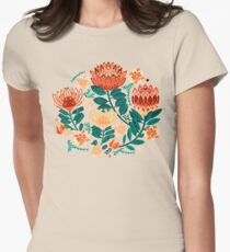 Protea Chintz - Teal & Orange  Fitted T-Shirt