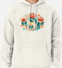 Protea Chintz - Teal & Orange  Pullover Hoodie