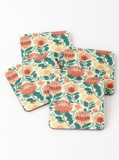 Protea Chintz - Teal & Orange  Coasters