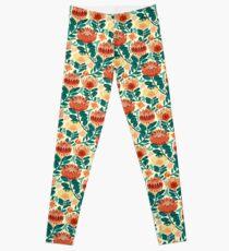 Protea Chintz - Teal & Orange  Leggings