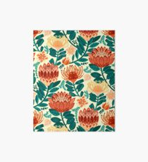 Protea Chintz - Teal & Orange  Art Board Print