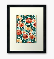 Protea Chintz - Teal & Orange  Framed Print
