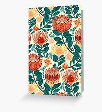 Protea Chintz - Teal & Orange  Greeting Card