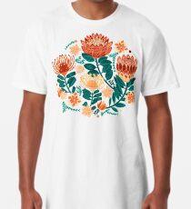 Protea Chintz - Teal & Orange  Long T-Shirt
