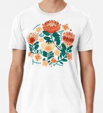 Protea Chintz - Teal & Orange  Premium T-Shirt
