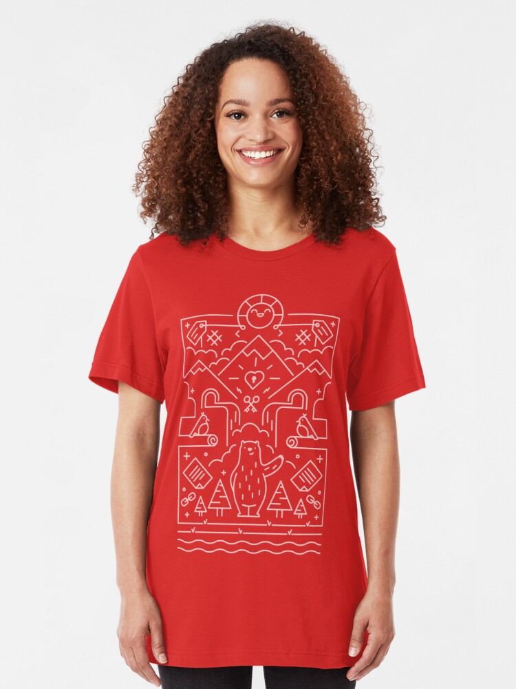 Alternate view of 3rd Bearthday Shirt - Red Slim Fit T-Shirt