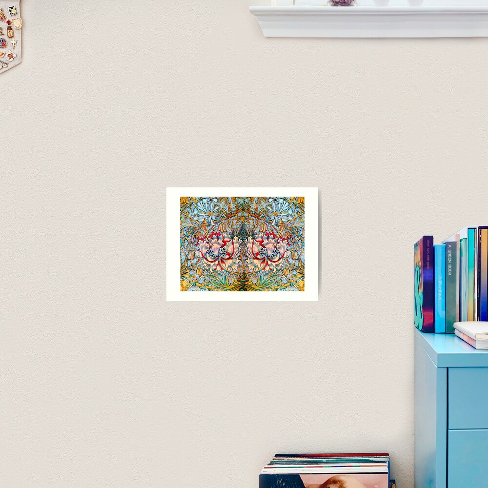 PINK HONEYSUCKLES AND ANEMONE FLOWERS , YELLOW BLUE FLORAL Art Print