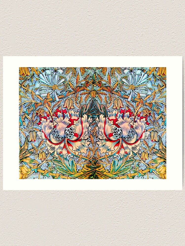 Alternate view of PINK HONEYSUCKLES AND ANEMONE FLOWERS , YELLOW BLUE FLORAL Art Print