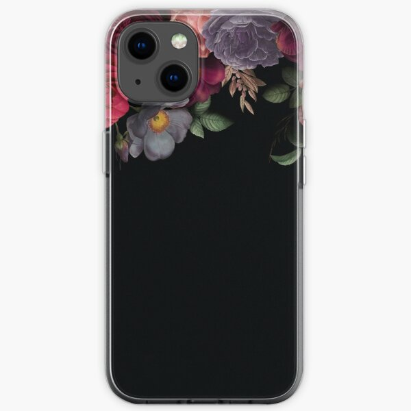 Antique Botanical Night Watercolor Roses on Black iPhone Soft Case