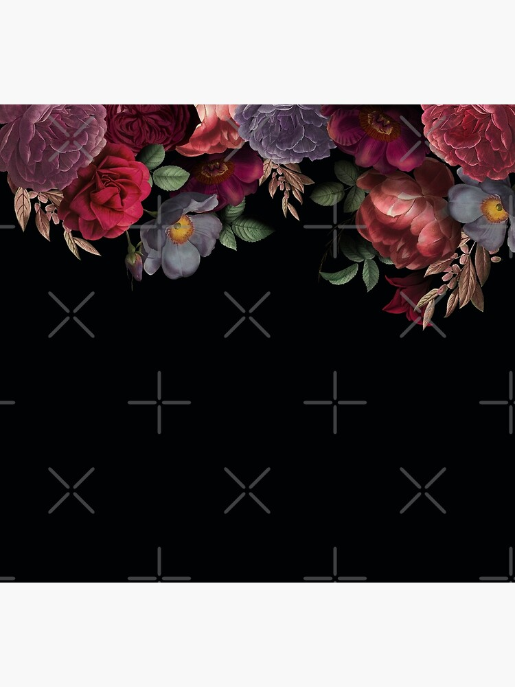 Antique Botanical Night Watercolor Roses on Black by UtArt
