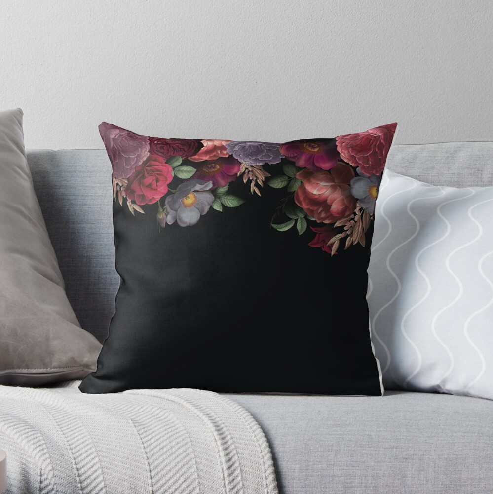 Antique Botanical Night Watercolor Roses on Black Throw Pillow