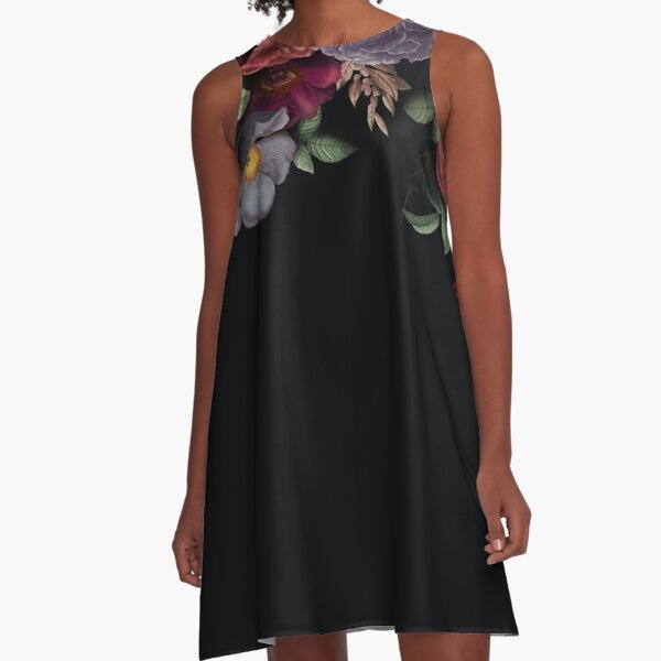 Antique Botanical Night Watercolor Roses on Black A-Line Dress