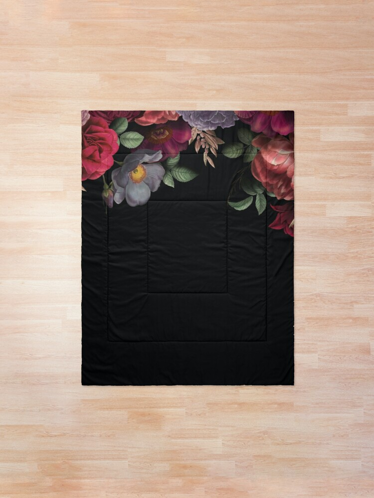 Alternate view of Antique Botanical Night Watercolor Roses on Black Comforter