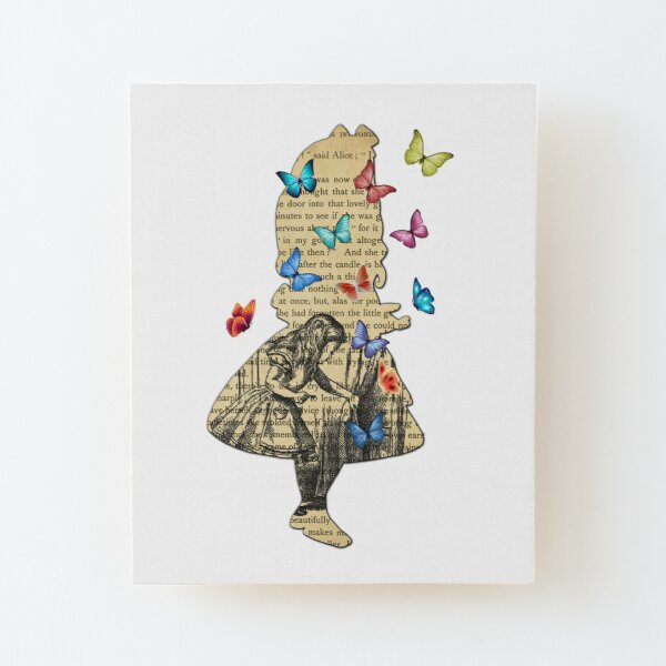 Alice In Wonderland - Vintage Wonderland Book Wood Mounted Print