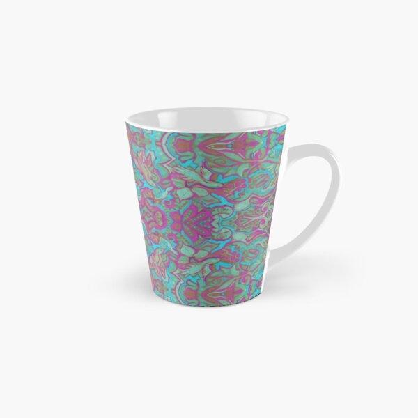 Birds Arabesque, Bohemian Pattern, Pink Turquoise Tall Mug
