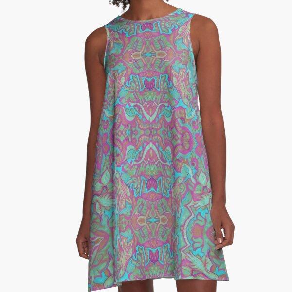 Birds Arabesque, Bohemian Pattern, Pink Turquoise A-Line Dress