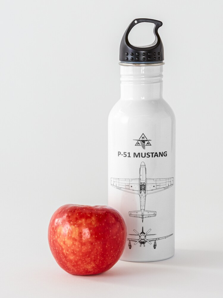 Alternate view of The P-51 Mustang Blueprint Water Bottle